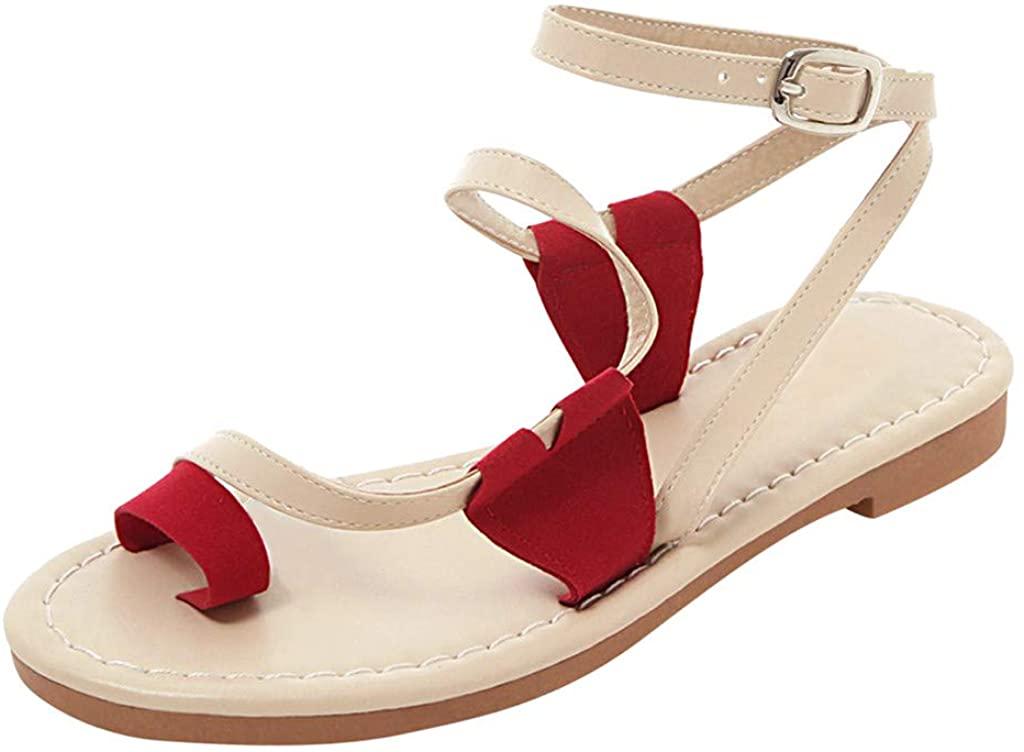 HLENLO 여성의 샌들을 설정 플랫 샌들 벨트 여름 해변 신발 여성들의 캐주얼 샌들 십대 소녀 샌들