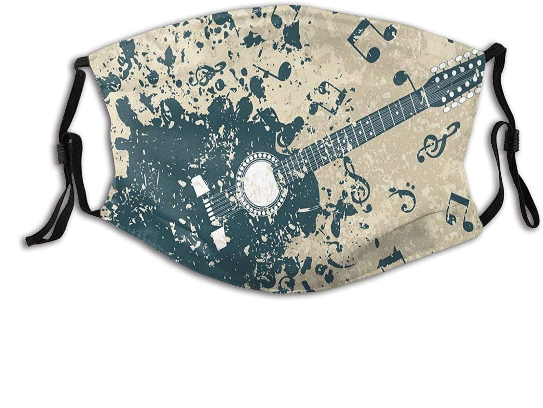 얼굴 마스크와 2 개로 만들어진 필터 어쿠스틱 기타에 복고풍의 어두운 배경 음악과 함께 주의 멜로디 그림,재사용할 수 있고 빨 수 있는 피복 얼굴에 덮개를 덮 먼지를 위한 남녀 공통