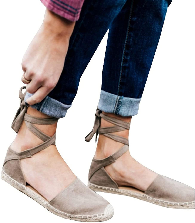 HLENLO WOMENS FLAT ESPADRILLE 샌들 플랫폼 여름 모자 발가락 신발 클래식 소프트 앵클 타이 레이스 업 ESPADRILLES 신발