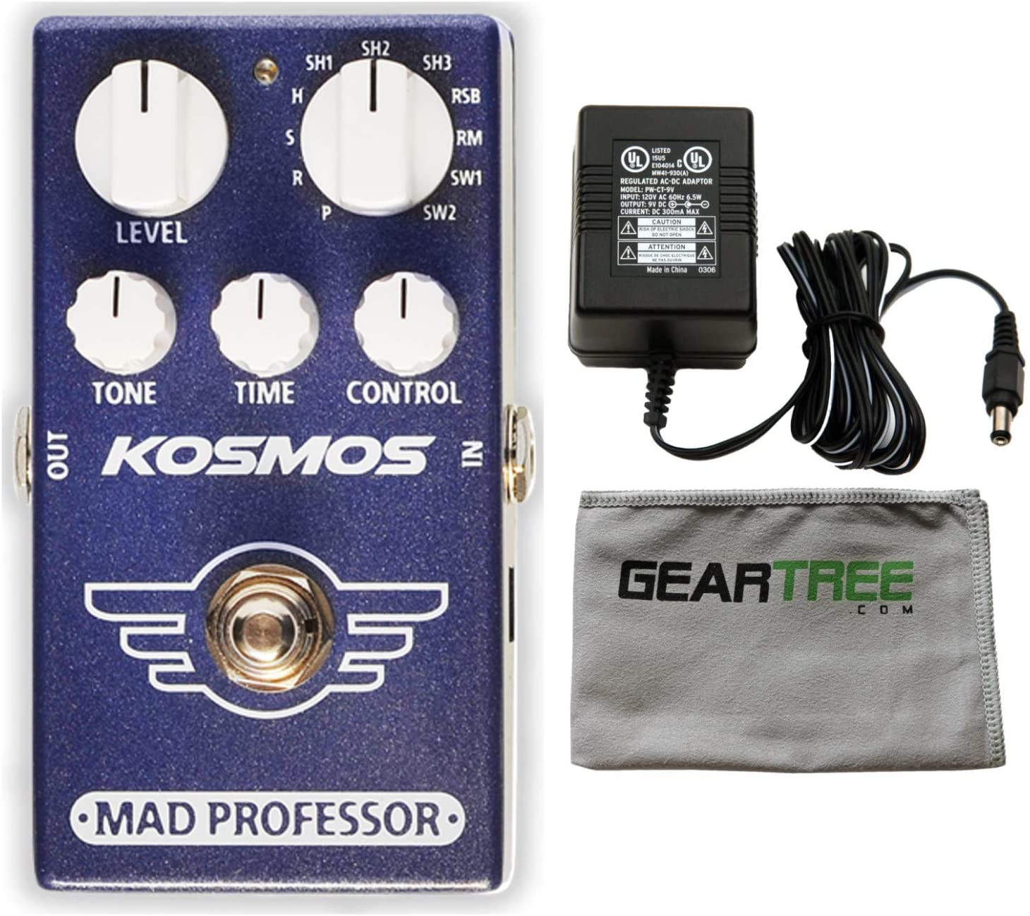 MAD 교수 코스모스 리버브 이펙트 페달 번들(전원 공급 장치 및 천 포함)