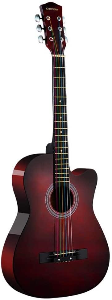 MIILIEDY 미니멀리즘은 아름다운 38-INCH 어쿠스틱 기타 성인 청소년 남성 여성 초보자 연습 훌륭한 솜씨 나무 기타 기타 케이스 숄더 스트랩 설정의 코드(색상:색상)