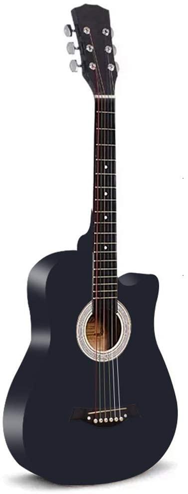 MIILIEDY 귀여운 여러 가지 빛깔의 패션 38 치 기타 초보자 학생이 여성 남성은 자기 배우기 최고의 선택 기타와의 경우 스트랩 설정의 코드(색상:검정)