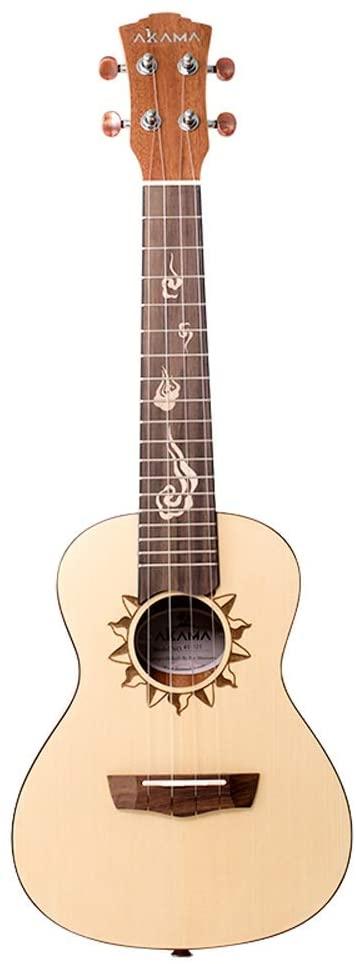 MIILIEDY 고전적인 태양의 패턴은 우쿨렐레 초보자 23-INCH 네자 여자 남자의 정밀한 소형 기타 폴란드어와 가진 천연 가방 스페 문자열을 얻을 당신을 즐기는 우쿨렐레 KIT