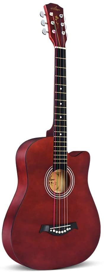 MIILIEDY38 인치 초보자 기타티 멋진 남녀 학생을 연습 민간과 어쿠스틱 기타 기타 케이스 어깨끈이 설정한 문자열의 천으로 닦는(색상:색상)