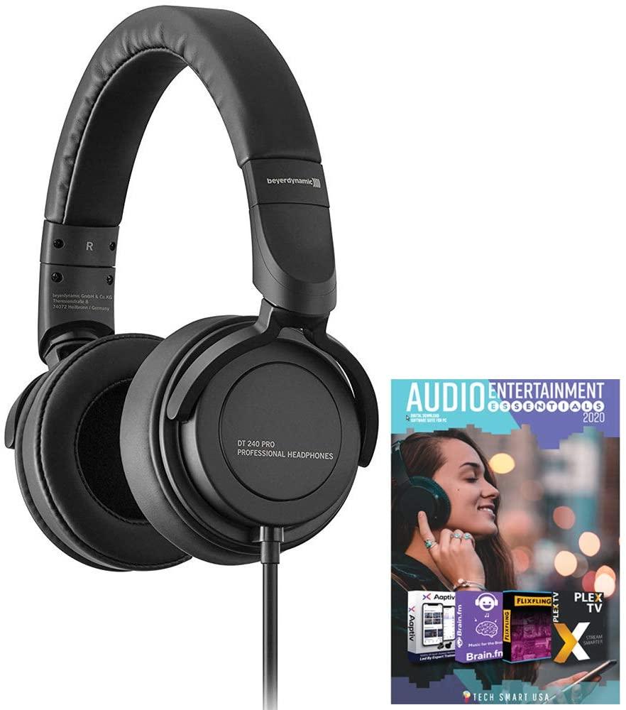 BEYERDYNAMIC718270DT240PRO 전문 스튜디오 모니터링 헤드폰 번들(TECH SMART USA AUDIO ENTERTAINMENT ESSENTIALS BUNDLE2020 포함)