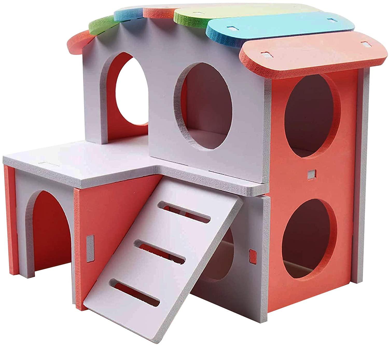 햄스터 케이지는 작은 동물의 생존을 럭셔리 하우스에 대한 실내 더블 레이어 플랫폼을 큰 우리 사다리를 가진 6 인치 높이 토끼 햄스터 친칠라 액세서리 모이게 쉬운