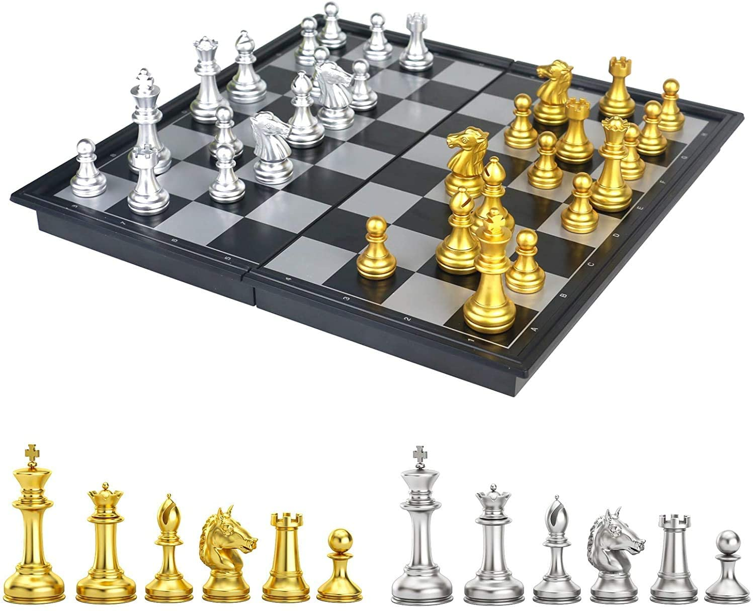 SHFAMHS MAGNETIC TRAVEL CHESS SET BOARD THAT BECOMES A STORAGE COMPARTMENT FOLDING PORTABLE AND EDUCATIONAL BOARD GAME GREAT TRAVEL TOY SET BY BIG MO\u2019S TOYS