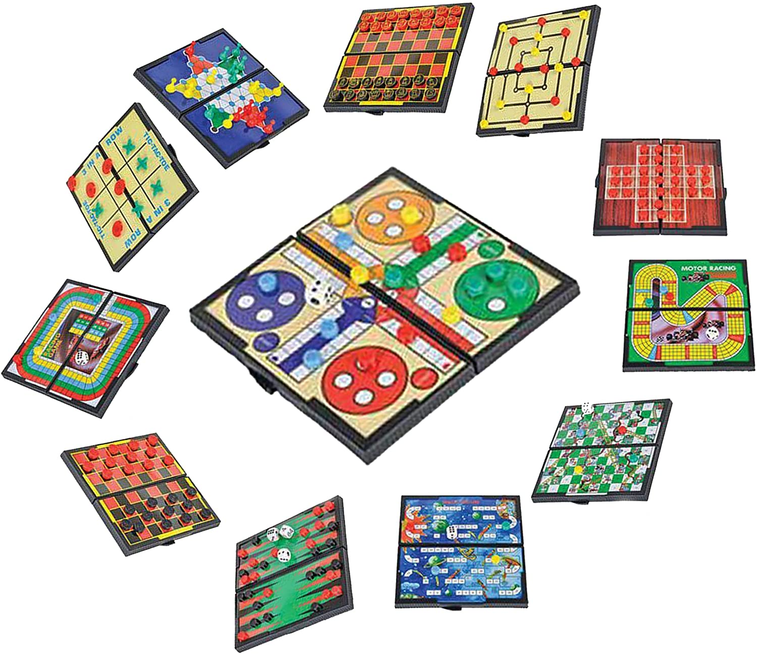 MAGNETIC TRAVEL BOARD GAMES-ROAD TRIP ENTERTAINMENT CHECKERS CHESS CHINESE CHECKERS TIC TAC TOE BACKGAMMON SNAKES AND LADDERS SOLITAIRE NINE MENS MORRIS AUTO RACING LUDO SPACE VENTURE