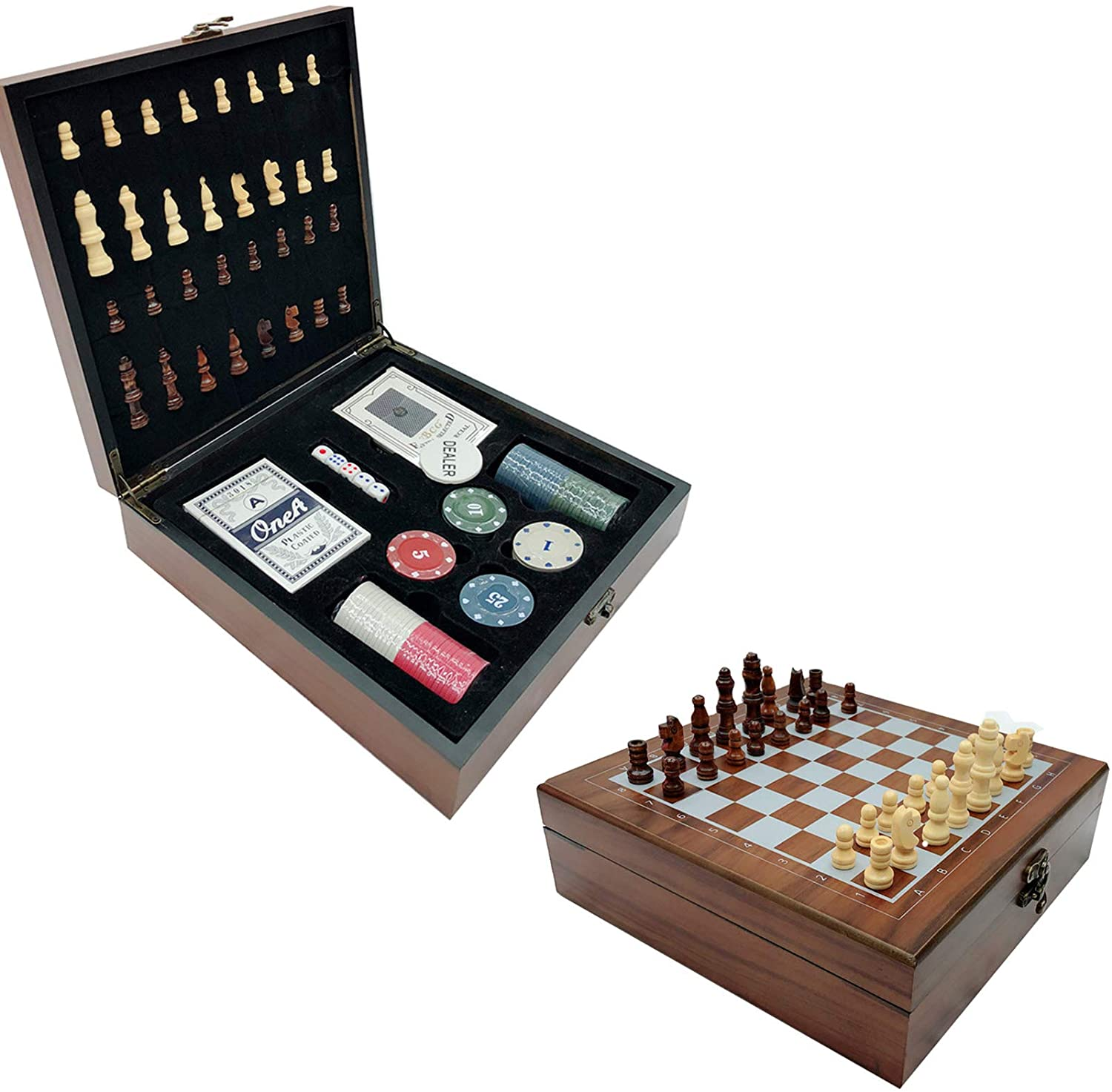 LRRJJ 4 IN 1 PORTABLE CHESS SET POKER CHIPS PLAYING CARDS DICE FOLDING CHESS BOARD TRAVEL CHESS GAMES FOR CHILDREN AND FRIENDS