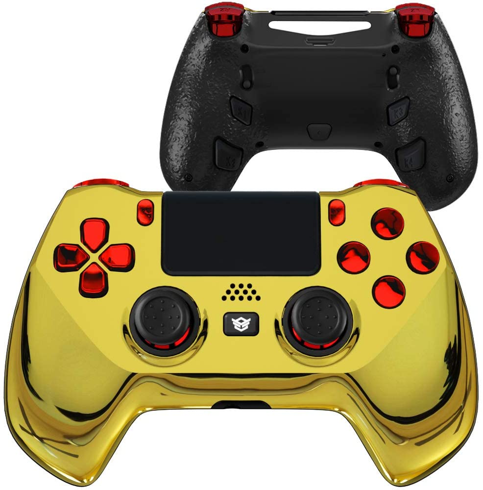 HEXGAMING 육각 하이퍼 컨트롤러 4MAPPABLE 뒤로 버튼 및 교체 가능한 썸 스틱 및 트리거 PS4 컨트롤러 용 중지 맞춤형 게임 컨트롤러 PC 무선 FPS 게임 패드-CHROME GOLD RED
