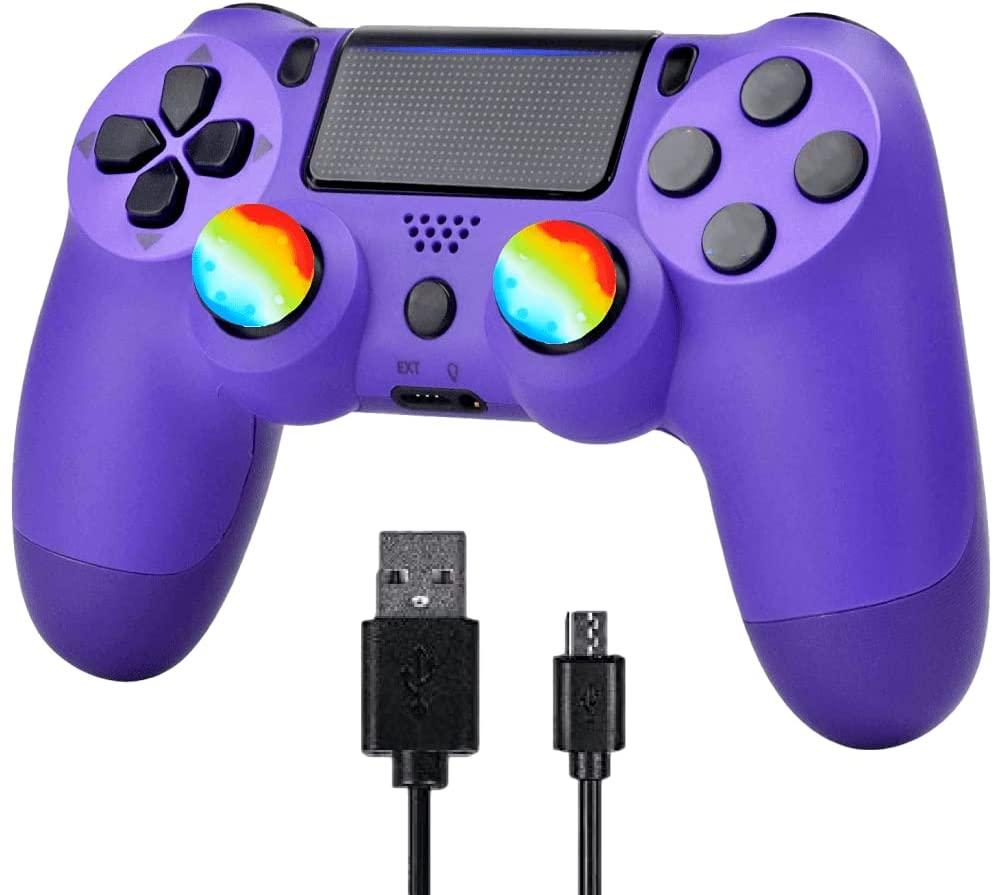 YU33 무선 게임 컨트롤러와 호환 PS4,YU33 원격 제어를 위한 것 4 스테이션 호스팅과 충전 케이블과 이중 충격(보라색 게임 패드 2021 년 새로운 모델을 조이스틱)