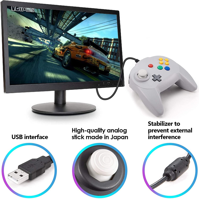 2 갑 KIWITATA N64 미니 USB 컨트롤러 레트로 클래식 유선 N64 64 비트 업그레이드 조이스틱 컨트롤러 윈도우 PC | 맥 그레이&블랙