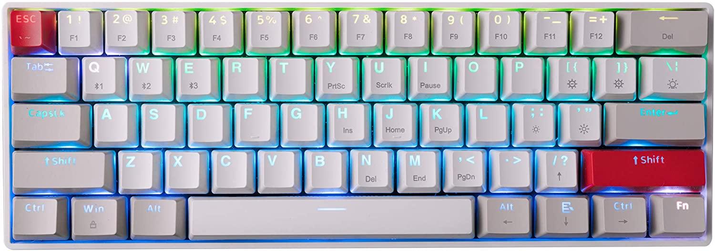 NEWMEN GM610 61 키 60%무선 기계식 게임용 키보드 추가 키 캡 세트가있는 NKRO RGB 백라이트 TYPE-C 케이블 핫 스왑 가능 스위치 WINDOWS | MAC | 안드로이드 용 빨간색 스위치