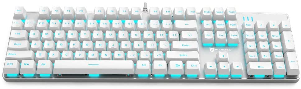 BASALTECH WHITE MECHANICAL GAMING KEYBOARD BLUE LED BACKLIT 104-KEY ANTI-GHOSTING BLUE SWITCH HOT SWAPPABLE METAL PANEL LIGHT UP KEYBOARD ERGONOMIC DESIGN WIRED USB FOR PC LAPTOP MAC (N-J9PRO)
