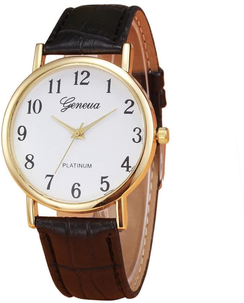IEASON 레트로 디자인 가죽 밴드 아날로그 합금 석영 손목 시계(블랙)