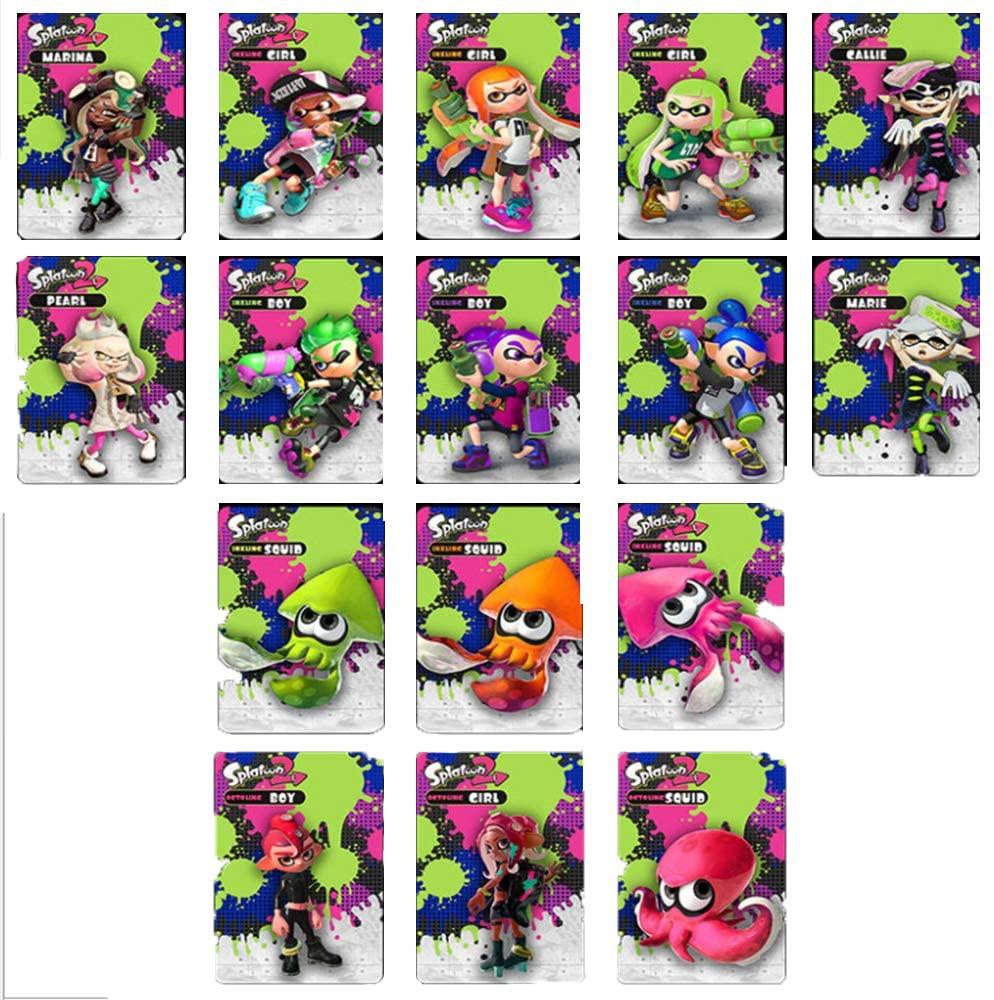 16 개 대한 SPLATOON2AMIIBO 미니 카드 3 개의 새로운 소송 수집 아름다운 외관 광택 자료 마녀 카드 홀더 호환성 스위치 스위치 라이트