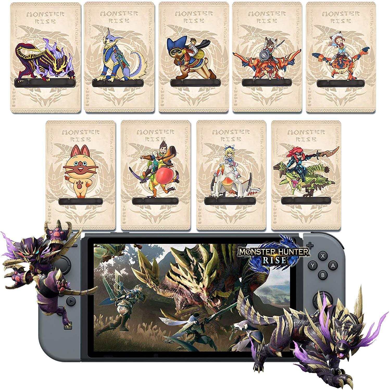 9 개 몬스터 헌터 상승 NFC AMIIBO 미니 카드 PALAMUTE PALICO MAGNAMALO. 호환 스위치 | 스위치 라이트 | 새로운 3DS