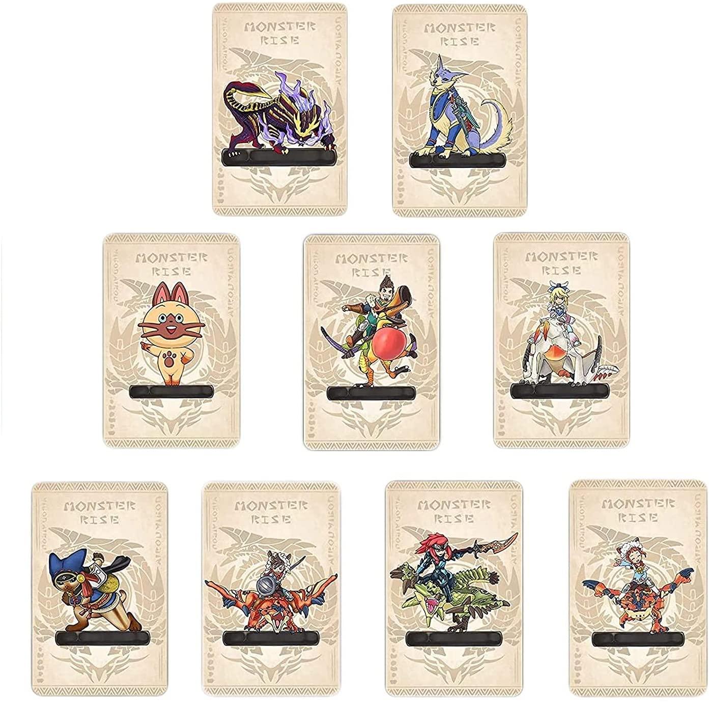 9 개 몬스터 헌터 상승 NFC AMIIBO 미니 카드 포함:PALAMUTE PALICO MAGNAMALO. 호환 스위치 스위치 라이트. 크리스탈 케이스가있는 타사 카드