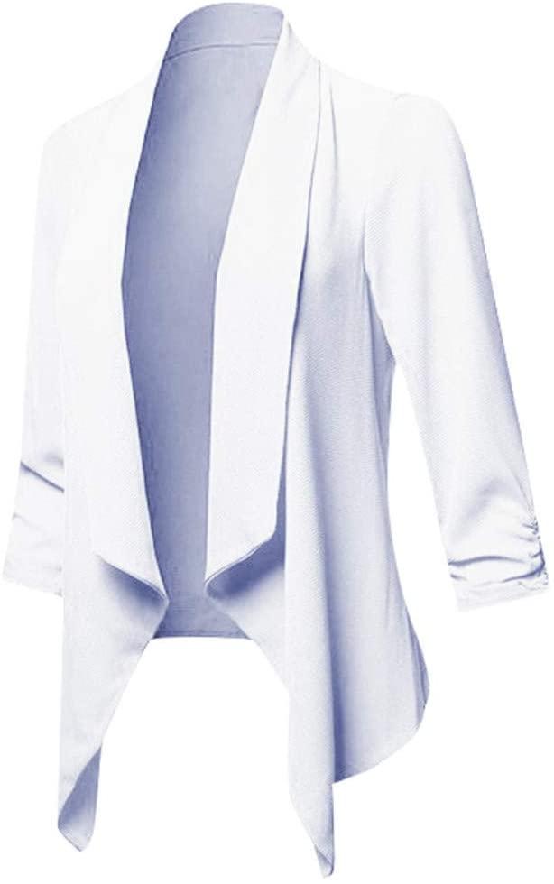 여성 외투 한 벌 플러스 크기 얇은 우아하 사무실 숙녀 라펠 3   4 슬리브 커프 작업 솔리드 컬러 슬림 편안한 착용감을 열고 앞 불규칙한 카디건이 탑 재킷