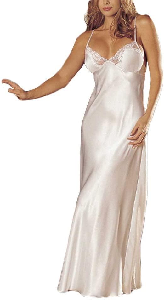 ATEZCH_ 여자 새틴 레이스 NIGHTDRESS V 목 긴 가운 CHEMISE 섹시 란제리 레이스 BABYDOLL 속옷 SLEEPSKIRT