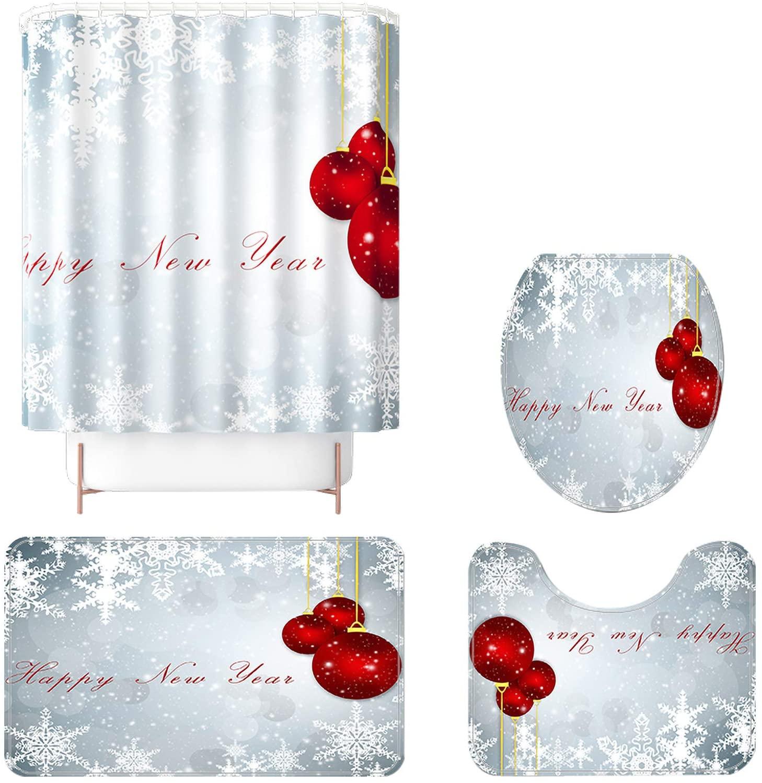 크리스마스 목욕 매트 세트 4 개 메리 크리스마스는 샤워 커튼 세트와 비 미끄러짐 양탄자 변기 뚜껑 덮개와 매트 크리스마스 트리가 인쇄된 샤워 커튼 설정한 크리스마스 장식(C)