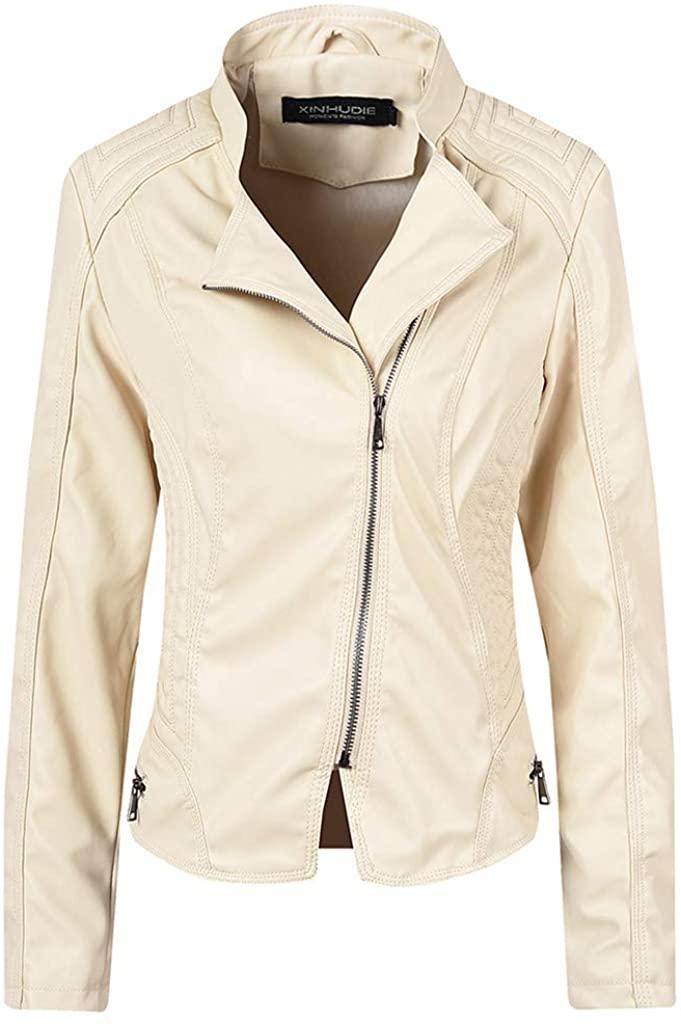 가짜 가죽 재킷 위해 여성 JCHEN 가을 겨울 ZIP 까지 오토바이를 모토 바풍 코트를 착실히 외투 재킷
