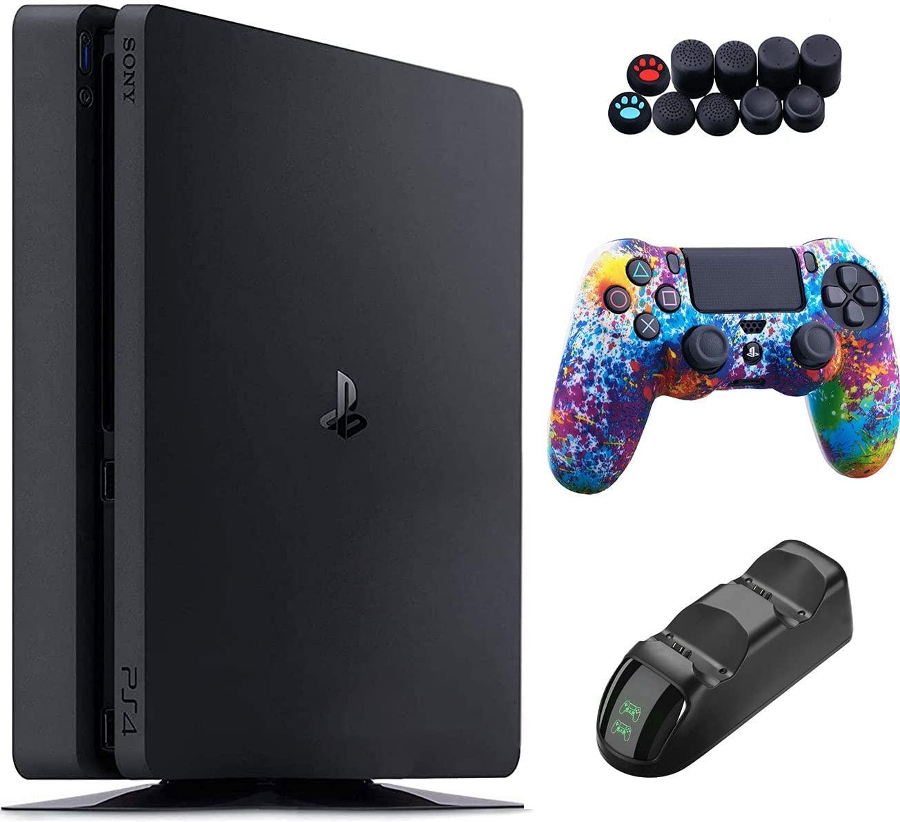 플레이 스테이션 4 1 테라바이트 콘솔-1 테라바이트 스토리지 DS4 무선 컨트롤러 및 GALLIUMPI3-IN-1 액세서리 키트가있는 블랙 PS4 슬림 에디션