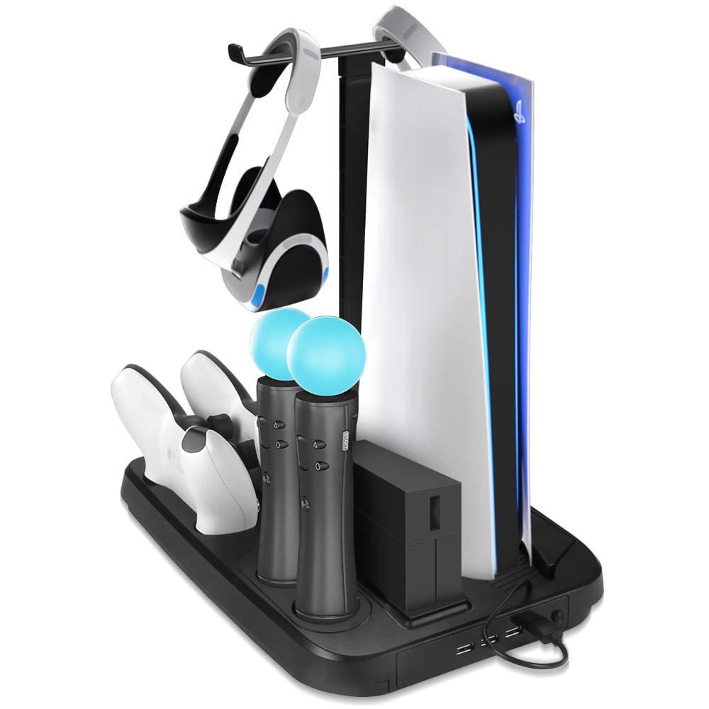충전소에 대한 PS5VR PS VR 충전 디스플레이 스탠드 전시 멋진 책임 그리고 표시하 PS5VR-PLAYSTATION5 세로 서 선풍기 충전기 컨트롤러와 허브