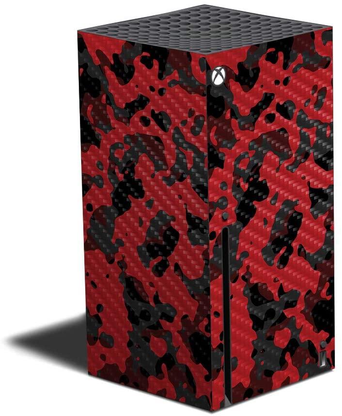 거대한 스킨 탄소 섬유로 피부와 호환 XBOX 시리즈 X-레드 현대적인 CAMO|보호 튼튼한 텍스쳐드는 탄소 섬유무|적용하기 쉬운 삭제 변경할 스타일|MADE IN USA
