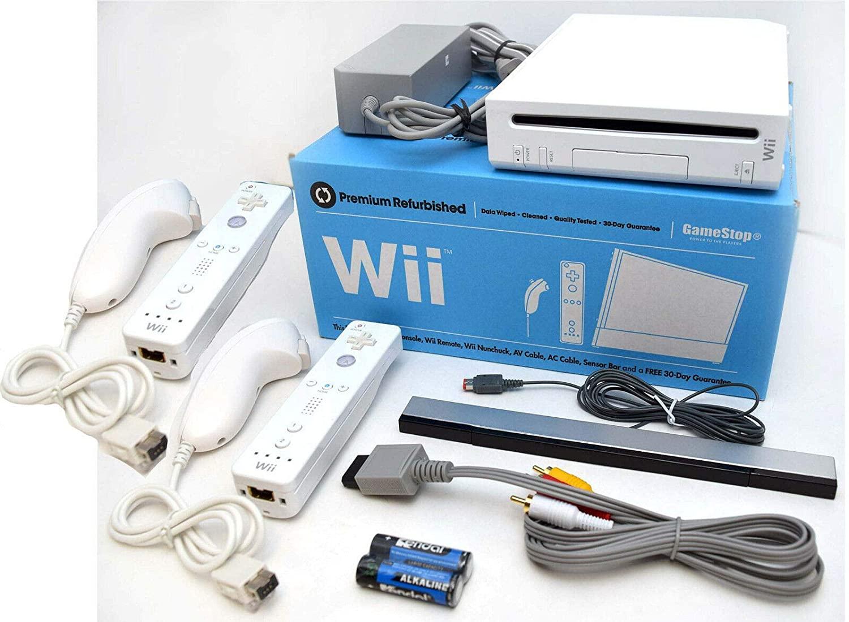 닌텐도 WII 비디오 게임 시스템 두 컨트롤러와 NUNCHUKS 번들 RVL-001 게임 큐브 콘솔 화이트