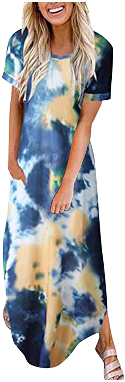 여자의 짧은 소매 V 넥 캐주얼 측면 분할 비치 긴 맥시 드레스를 느슨한 맞는 하와이 비치 드레스