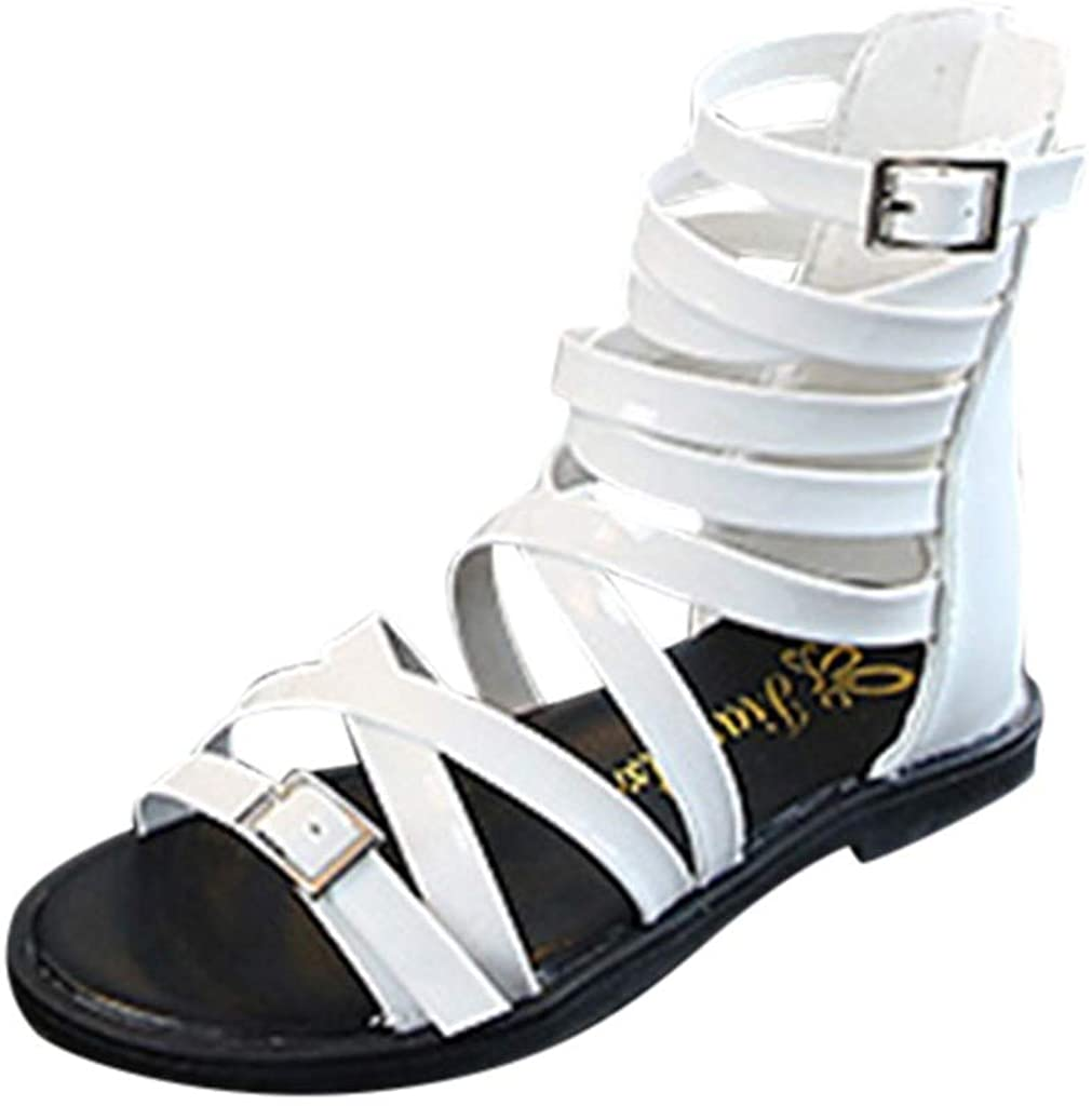 VIVIPLUS 어린 소녀 로마 지퍼 샌들 여자 패션 BOWKNOT 무릎 높은 검투사 샌들 여름 부츠 4-8YRS