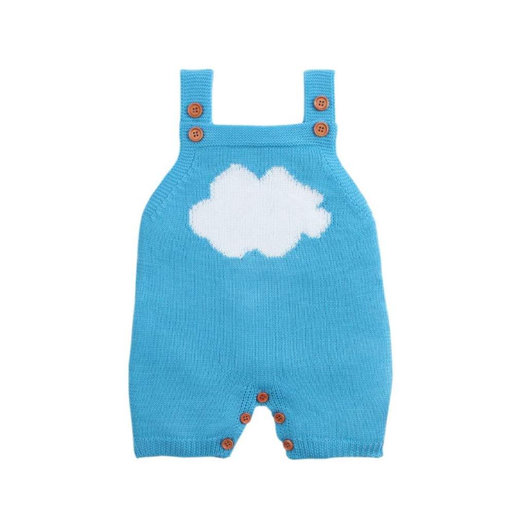 GALLITY 남여 아기를 따뜻하고 부드러운 니트 장난꾸러기 0-18M 유아 스트랩 슬리브리스 니트 죄수복 BODYSUIT 흰 구름 속옷 버튼을 의상(3-6 개월)