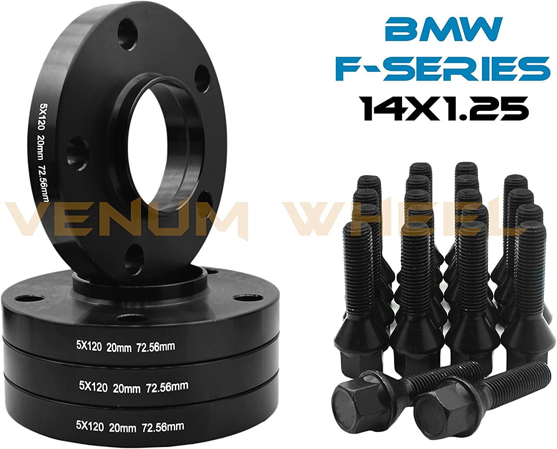 20 MM BMW F-SERIES 5X120 MM BLACK HUB CENTRIC WHEEL SPACERS 72.56 HUB BORE W | 14X1.25 BLACK LUG BOLTS FITS: F30 F31 320 328 335 F80 M3 F32 F82 M4 435 F22 F23 228 235 F10 528 535 M5 F11