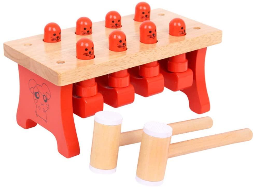 TOYANDONA 1 세트 해머 페그 나무 장난감 망치 고퍼 나무 게임 망치 어린이 아이들을위한 초기 교육 장난감 랜덤 색상을 노크