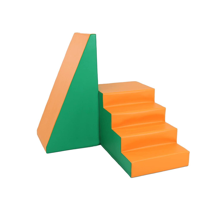 IGLU 단계 및 슬라이드 소프트 플레이 놀이터 등반 및 크롤링 활동 장난감 녹색   오렌지