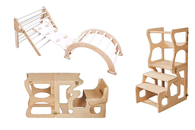 경사로와 아이 유아 바위피클러 삼각형 - 몬테소리 타워 단계 의자 - 학습 월도프 등반 장난감 - 유아를위한 아치 장난감 - 피커 흔들기 - N.WOOD + 화이트 (표준 크기)