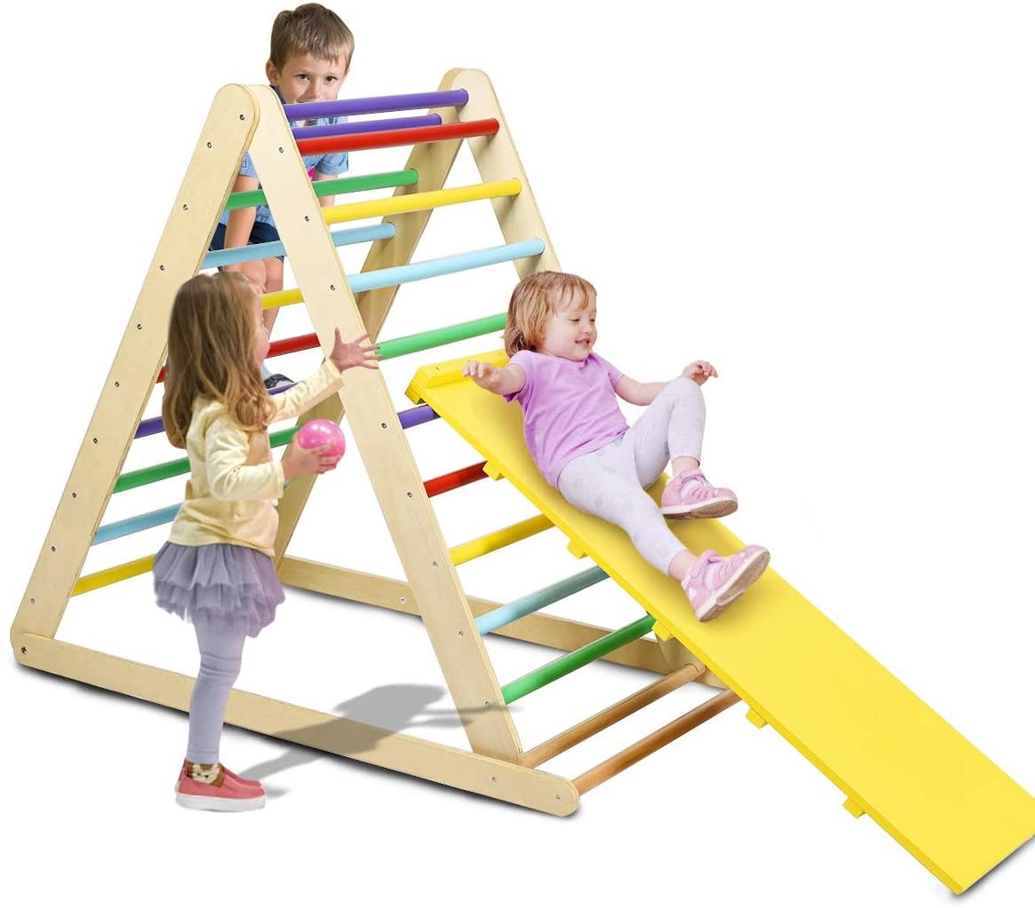 슬라이딩 및 등반을위한 COSTZON 접이식 나무 등반 삼각형 사다리 어린이 소년 소녀 (다채로운)에 적합한 유아를위한 안전 등반 사다리와 1 삼각형 등반에 2