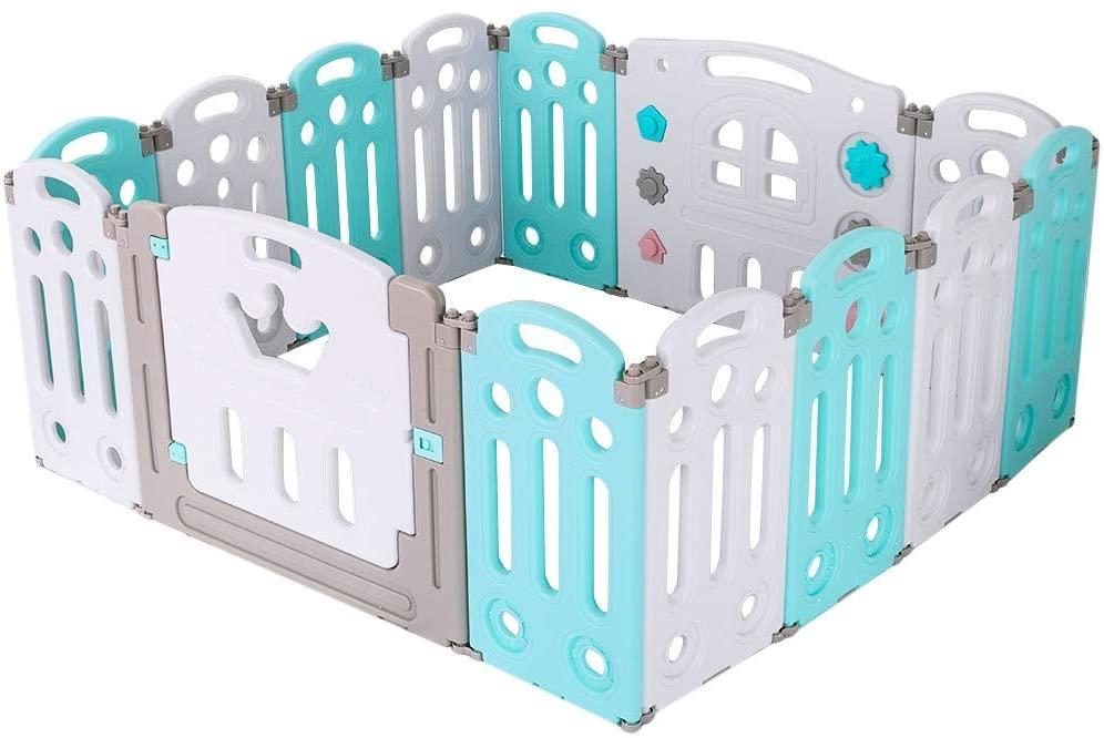 접이식 베이비 플레이펜 키즈 액티비티 센터 안전 놀이 마당 홈 실내 야외 어린이 놀이 울타리 실내 가정용 아기 아기 안전 울타리 크롤링 매트 놀이터 (녹색 접이식)