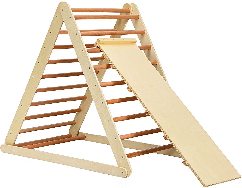 허니 조이 접이식 등반 삼각형 사다리 2 에 1 나무 삼각형 등반 사다리 유아 슬라이드 소년 소녀를위한 큰 실내 안전 등반 장난감 3 세 + (자연)