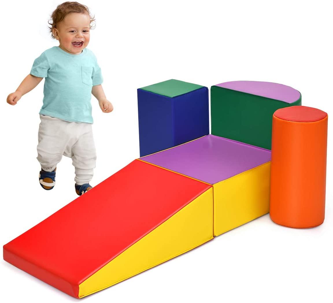 세이프플러스 클라임 및 크롤링 소프트 폼 플레이 세트 등반 크롤링 및 슬라이딩을위한 가볍고 안전한 폼 블록 유아 미취학 아동 어린이 어린이를위한 실내 등반 장난감 5 피스