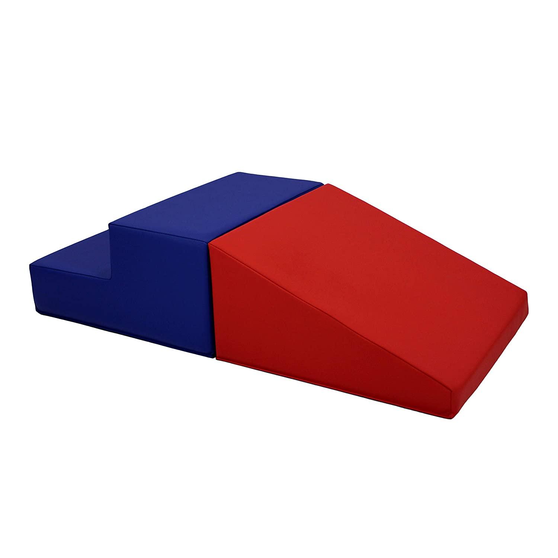 FDP-12365-BLRD 소프트스케이프 플레이타임 스텝 및 유아용 슬라이드 클라이머 실내 액티브 플레이 크롤링 클라이밍 슬라이딩(2피스 세트) - 블루   레드