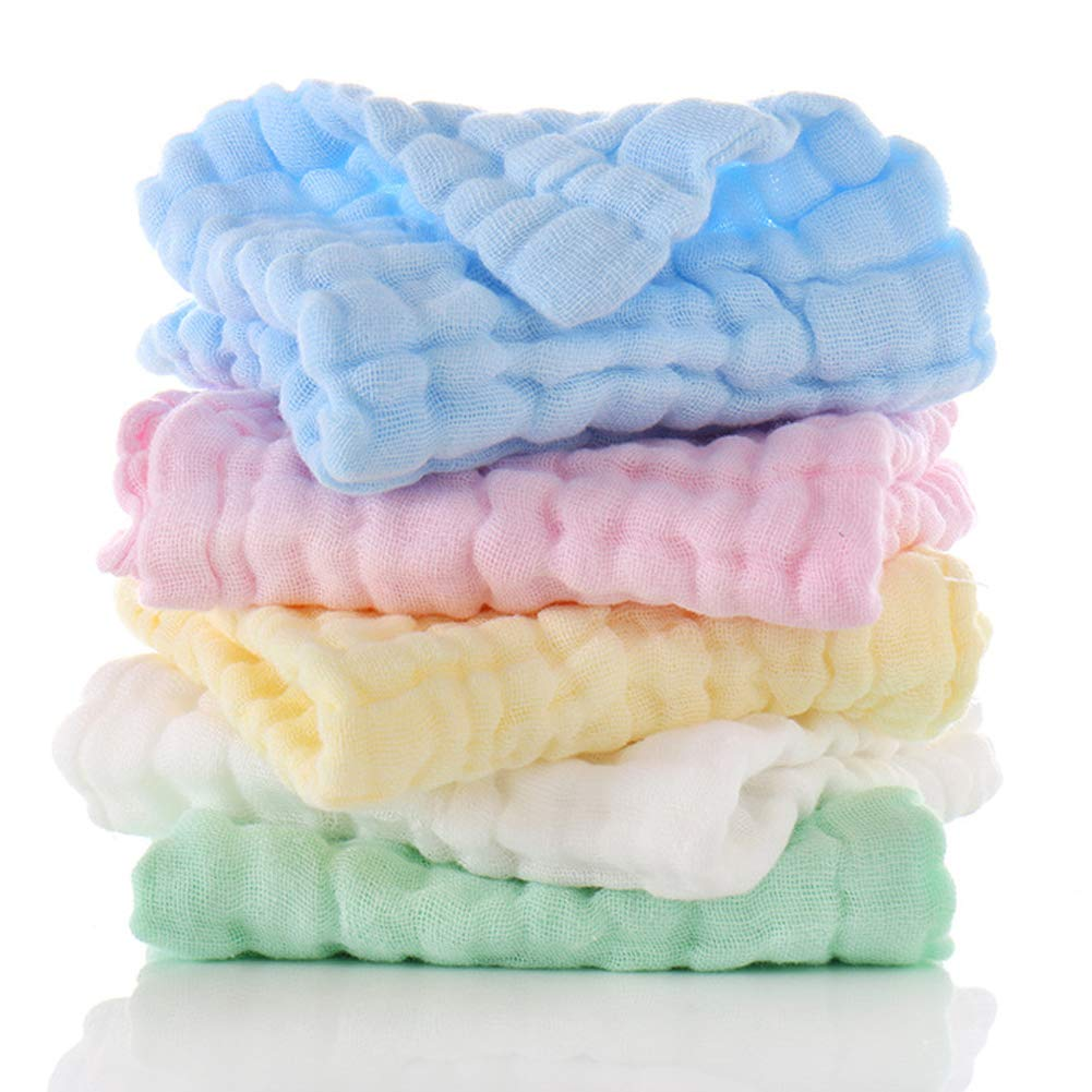 BABY MUSLIN WASHCLOTHS - SET OF 5 SOFT COTTON BABY WIPES FACE TOWELS FOR NEWBORN   INFANT   KIDS 12X12(MULTI-COLORED)