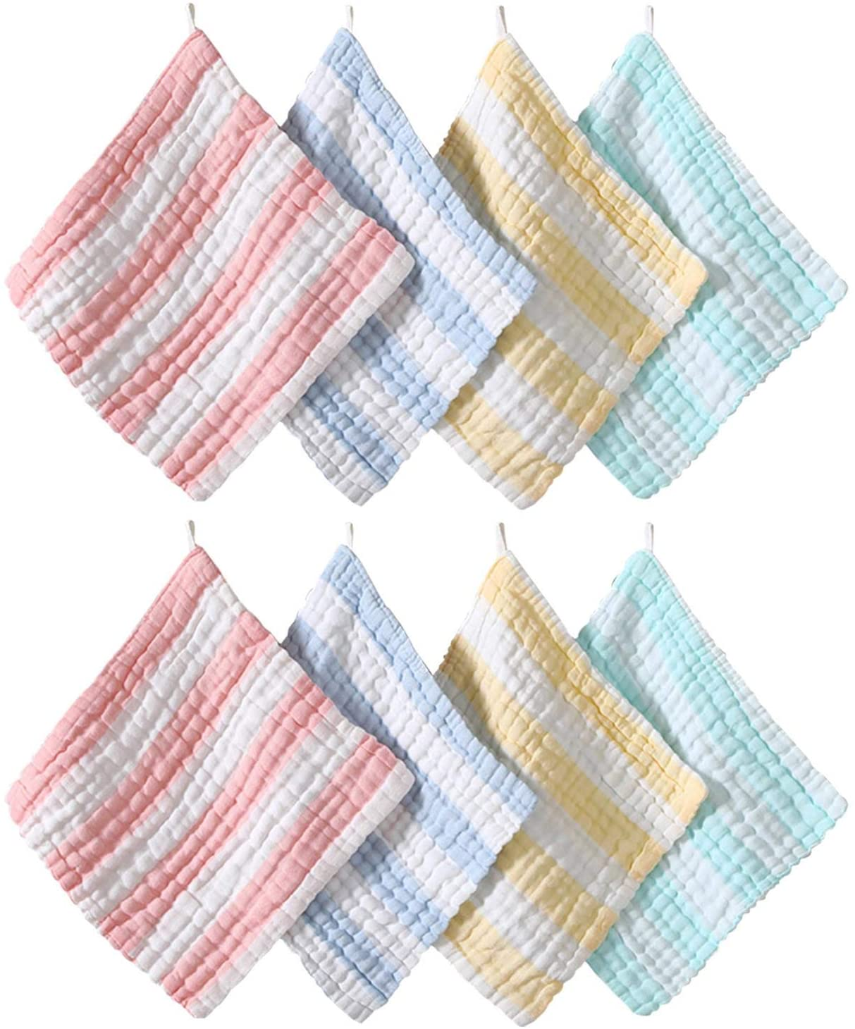 BEIYOULE 8PCS BABY MUSLIN WASHCLOTHS - SOFT NEWBORN BABY FACE TOWEL AND MUSLIN WASHCLOTH FOR SENSITIVE SKIN FEEDING WIPE,SHOWER GIFT COTTON BLEND FACE TOWEL