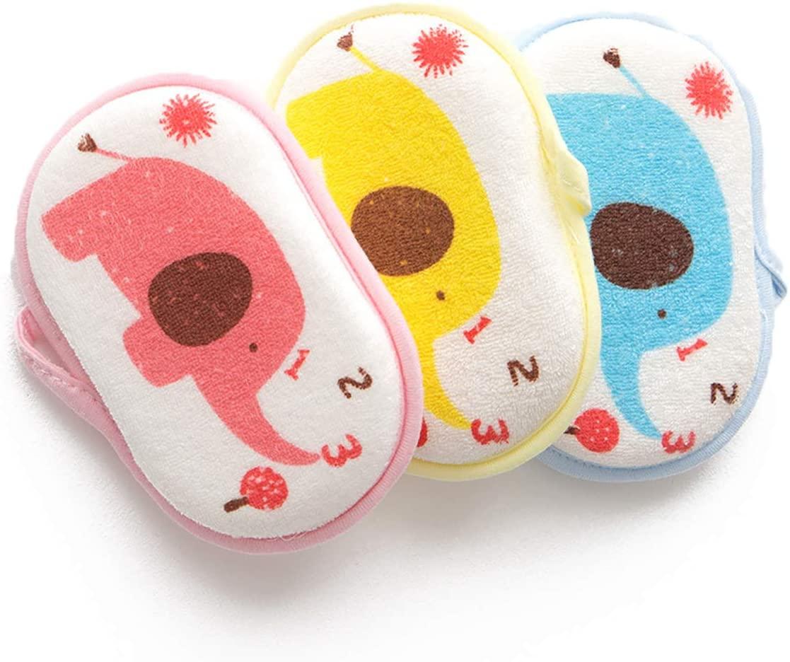 WJCWHH 3 PIECES BABY BATH SPONGE SOFT COTTON SHOWER SCRUBBER BODY FOAM SPONGE BATH BRUSH RUBBING TOWEL FOR TODDLER INFANT KIDS