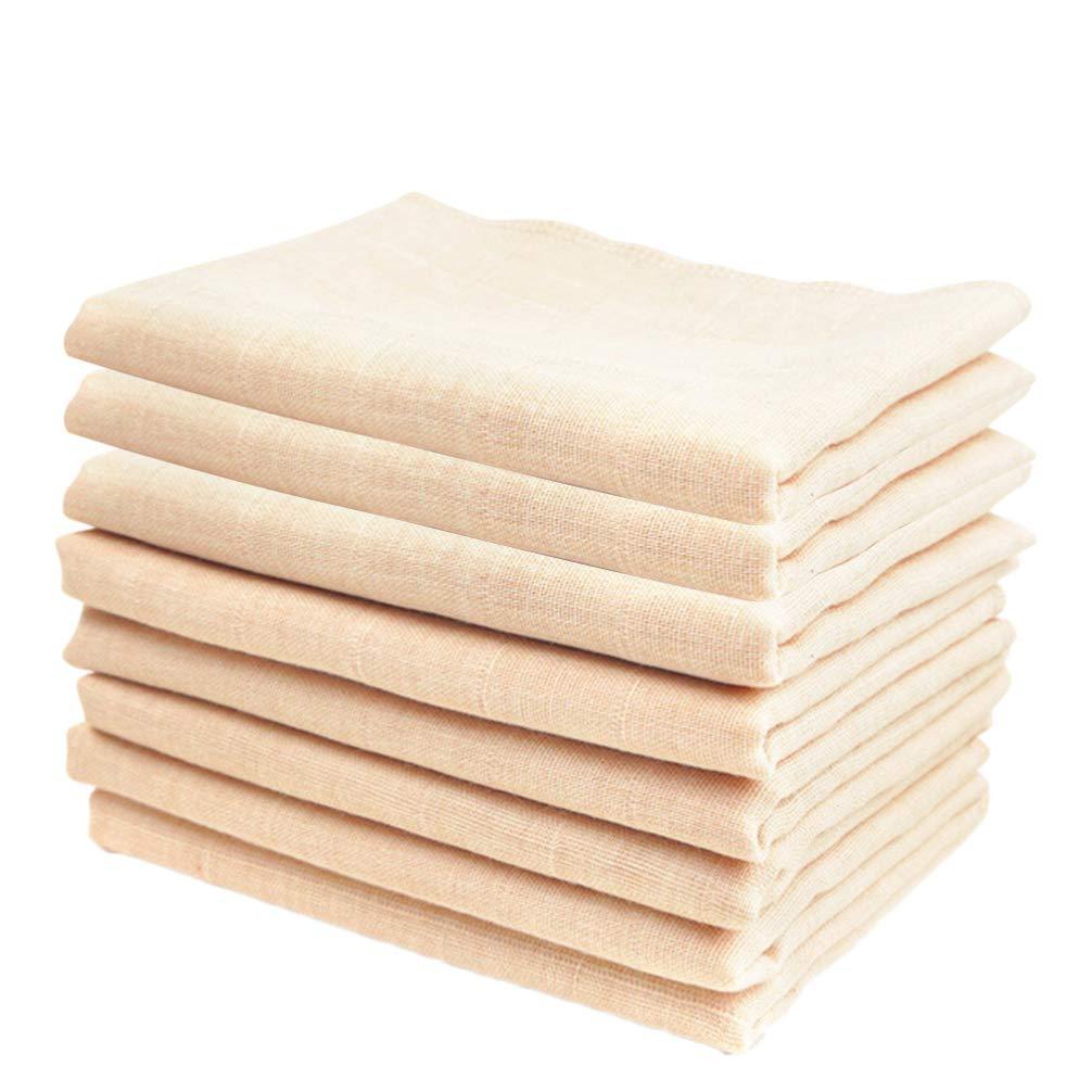 TOYANDONA 8PCS COTTON BURP CLOTHS MUSLIN HAND WASHCLOTHS ABSORBENT BURPING CLOTH TOWEL HANDKERCHIEF FOR BABY INFANTS NEWBORNS TODDLERS SHOWER GIFTS BEIGE