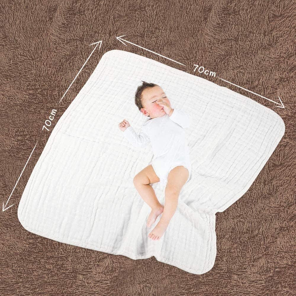 ZXT ME MUSLIN SQUARES LARGE BABY MUSLIN CLOTHS 70X70CM BABY BATH TOWEL 100% COTTON ABSORBENT & SOFT 5 PACK