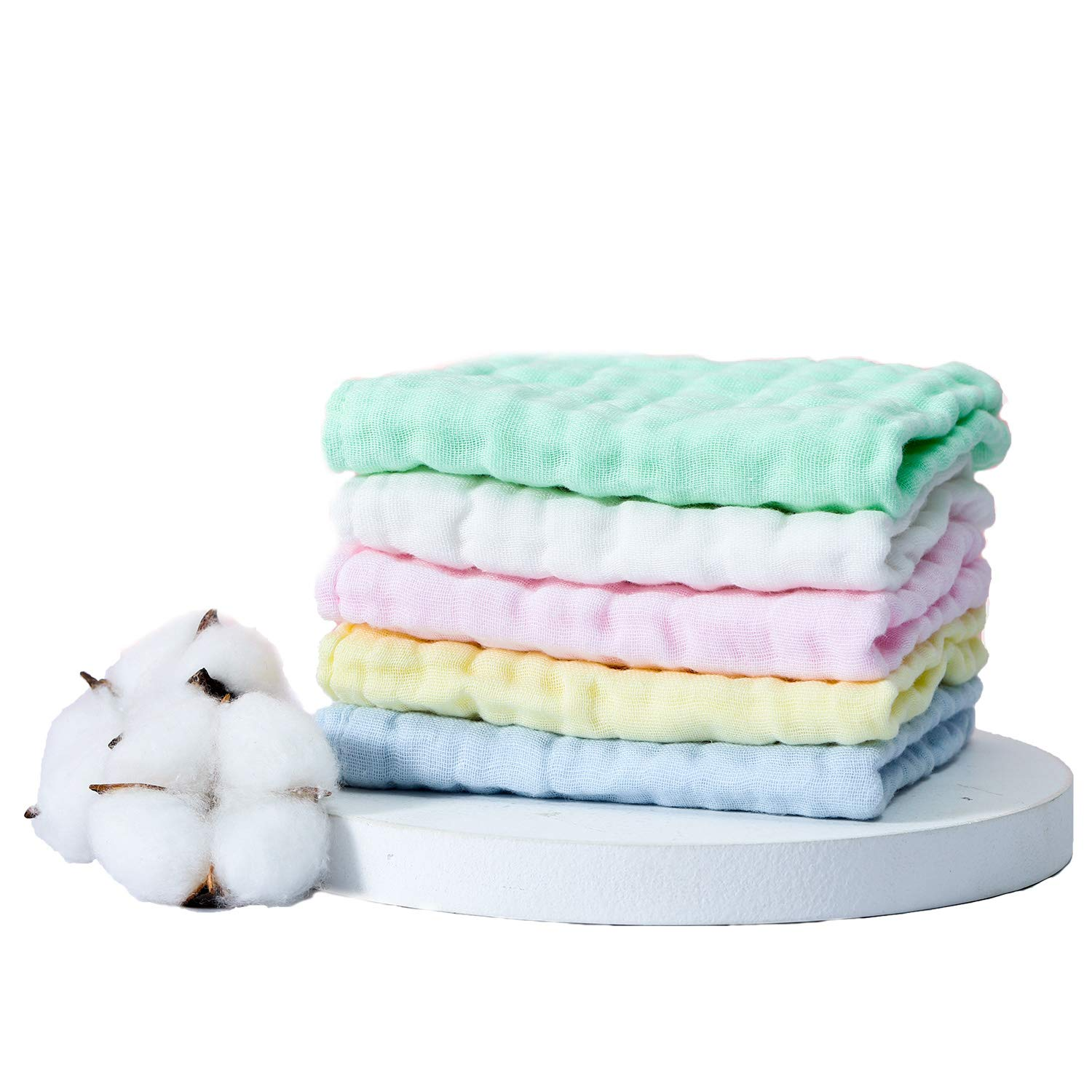 BABY MUSLIN 100% NATURAL COTTON WASHCLOTHS(12X12 INCHES 5 COLORS) SOFT NEWBORN BABY FACE TOWEL AND MUSLIN WASHCLOTH FOR SENSITIVE SKIN- BABY REGISTRY AS SHOWER GIFT
