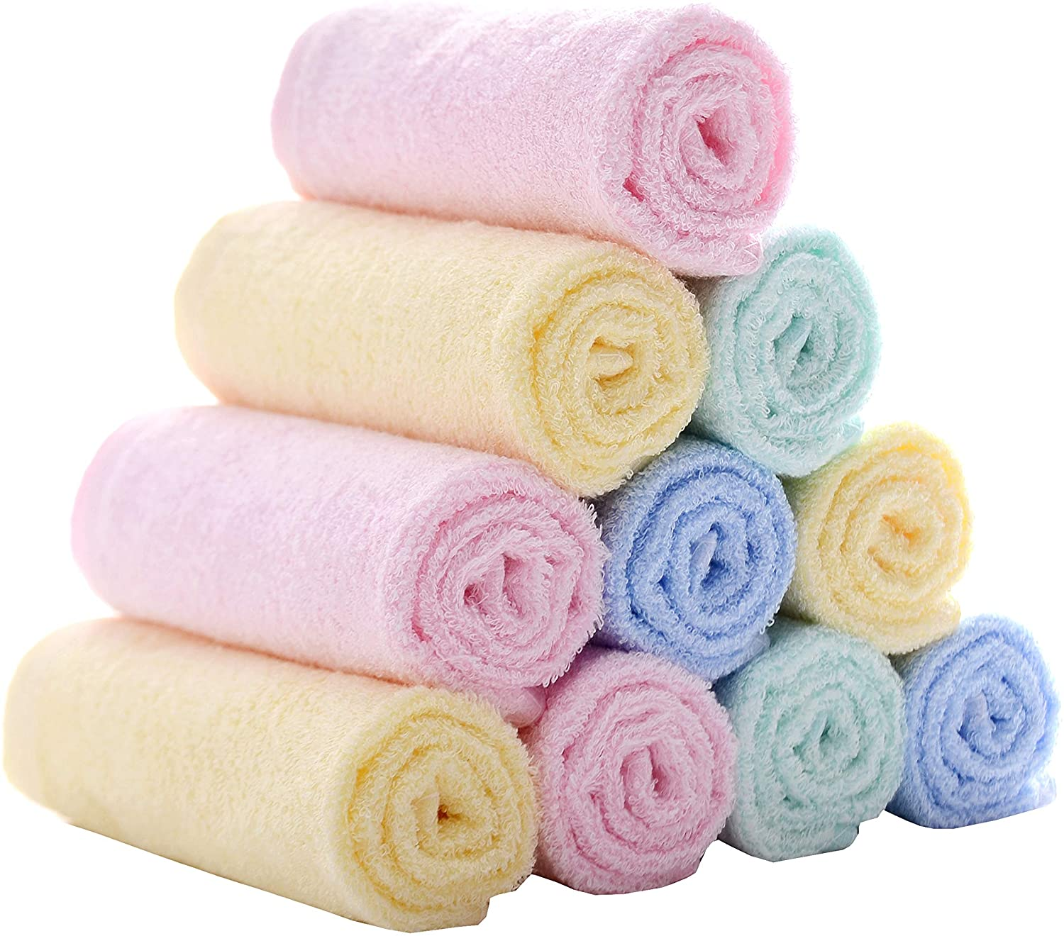 MUKIN BABY BAMBOO WASHCLOTHS BABY FACE TOWELS - EXTRA SOFT FOR NEWBORN   INFANT   KIDS   ADULTS - ULTRA SOFT FOR BABY REGISTRY AS SHOWER GIFT SET 12X12INCH. (12 PACK.)