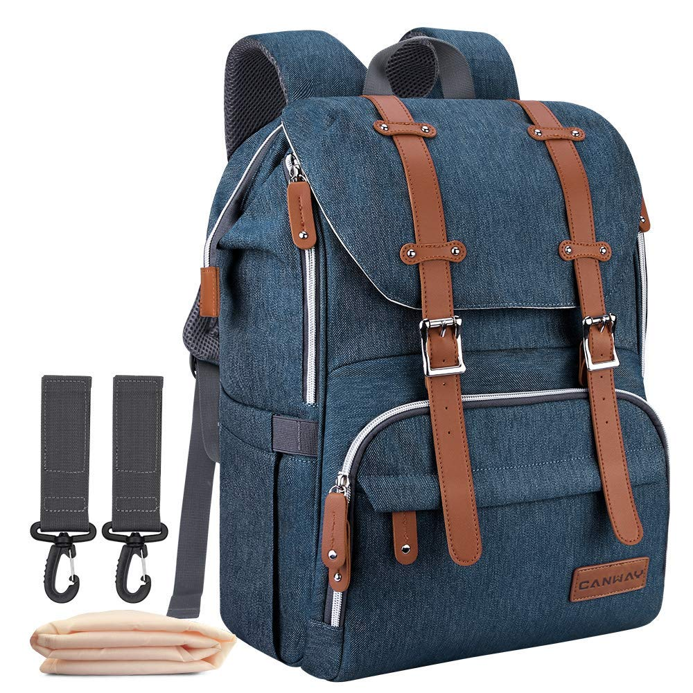 DIAPER BAG BACKPACK CANWAY LARGE UNI BABY BAG NAPPY BAG CHANGING PAD TRAVEL MATERNITY BAG MULTI-FUNCTION WATERPROOF AND DURABLE FOR MOM & DAD (BLUE)